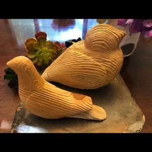 Accents - Set of two solid wood birds decor, like new.